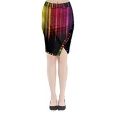 Rain Color Rainbow Line Light Green Red Blue Gold Midi Wrap Pencil Skirt