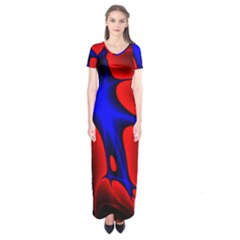 Space Red Blue Black Line Light Short Sleeve Maxi Dress