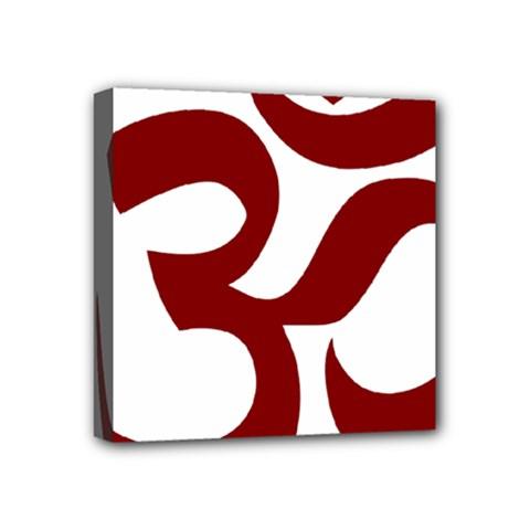 Hindu Om Symbol (dark Red) Mini Canvas 4  X 4  by abbeyz71