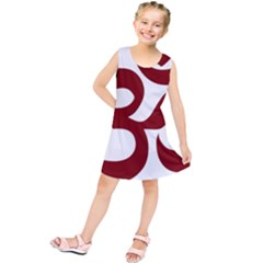Hindu Om Symbol (dark Red) Kids  Tunic Dress