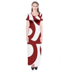 Hindu Om Symbol (dark Red) Short Sleeve Maxi Dress