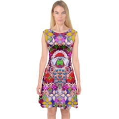 Hawaiian Poi Cartoon Dog Capsleeve Midi Dress by pepitasart