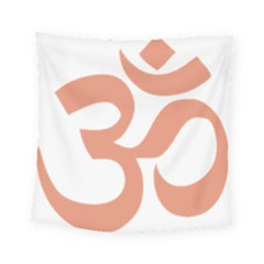Hindu Om Symbol (salmon) Square Tapestry (small) by abbeyz71