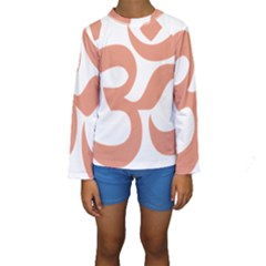 Hindu Om Symbol (salmon) Kids  Long Sleeve Swimwear