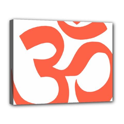 Hindu Om Symbol (peach) Canvas 14  X 11  by abbeyz71