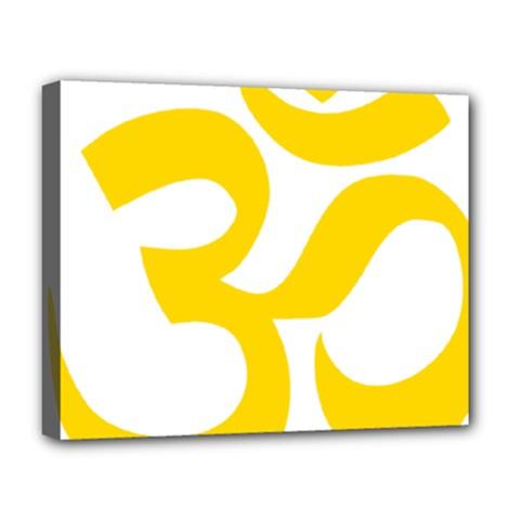 Hindu Om Symbol (yellow) Deluxe Canvas 20  X 16   by abbeyz71