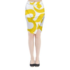 Hindu Om Symbol (yellow) Midi Wrap Pencil Skirt