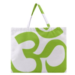 Hindu Om Symbol (lime Green) Zipper Large Tote Bag by abbeyz71