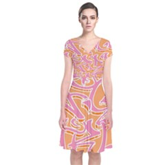 Abc Graffiti Short Sleeve Front Wrap Dress by Nexatart