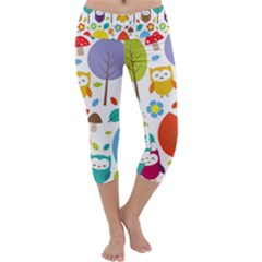 Cute Owl Capri Yoga Leggings