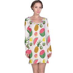 Fruits Pattern Long Sleeve Nightdress