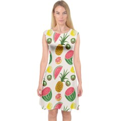 Fruits Pattern Capsleeve Midi Dress