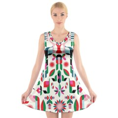 Abstract Peacock V Neck Sleeveless Skater Dress