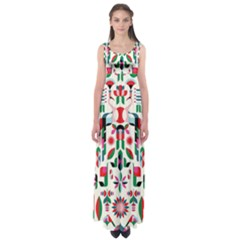 Abstract Peacock Empire Waist Maxi Dress