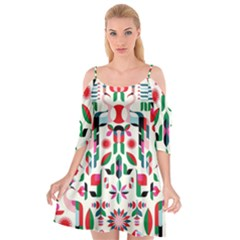 Abstract Peacock Cutout Spaghetti Strap Chiffon Dress