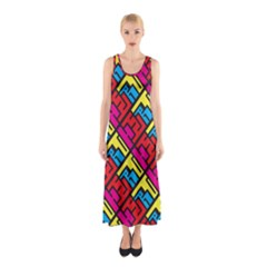 Hert Graffiti Pattern Sleeveless Maxi Dress