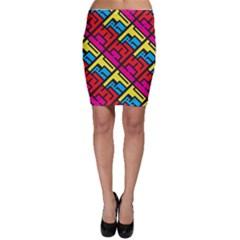 Hert Graffiti Pattern Bodycon Skirt