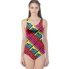 Hert Graffiti Pattern One Piece Swimsuit