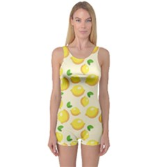 Lemons Pattern One Piece Boyleg Swimsuit