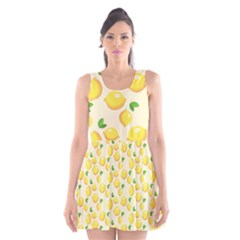 Lemons Pattern Scoop Neck Skater Dress