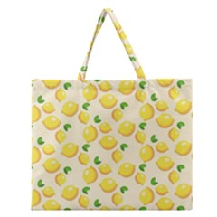 Lemons Pattern Zipper Large Tote Bag by Nexatart