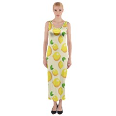 Lemons Pattern Fitted Maxi Dress