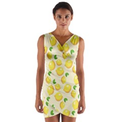 Lemons Pattern Wrap Front Bodycon Dress