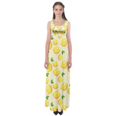Lemons Pattern Empire Waist Maxi Dress