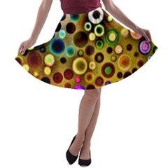 Colorful Circle Pattern A Line Skater Skirt by Costasonlineshop