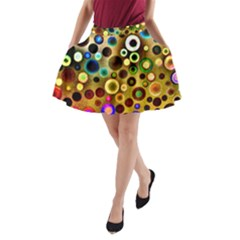 Colorful Circle Pattern A Line Pocket Skirt by Costasonlineshop