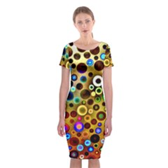 Colorful Circle Pattern Classic Short Sleeve Midi Dress by Costasonlineshop