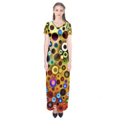 Colorful Circle Pattern Short Sleeve Maxi Dress by Costasonlineshop