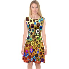 Colorful Circle Pattern Capsleeve Midi Dress by Costasonlineshop