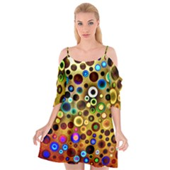 Colorful Circle Pattern Cutout Spaghetti Strap Chiffon Dress by Costasonlineshop