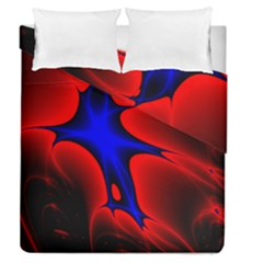Space Red Blue Black Line Light Duvet Cover Double Side (queen Size) by Mariart