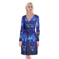 Sign Leo Zodiac Long Sleeve Velvet Front Wrap Dress by Mariart