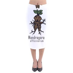 Mandrake Plant Velvet Midi Pencil Skirt by Valentinaart