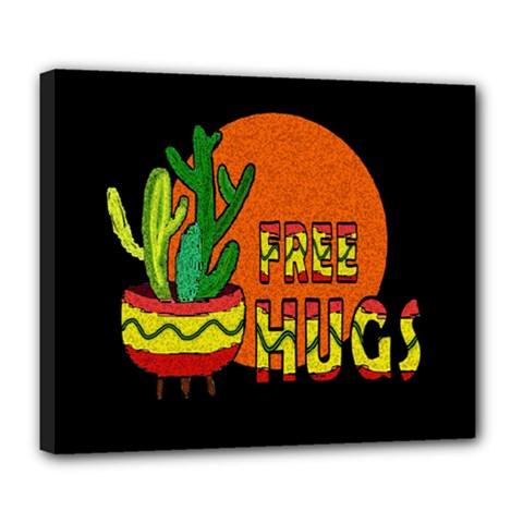 Cactus   Free Hugs Deluxe Canvas 24  X 20   by Valentinaart