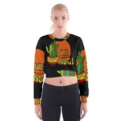 Cactus   Free Hugs Cropped Sweatshirt by Valentinaart
