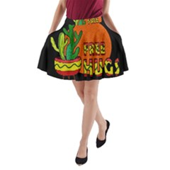 Cactus   Free Hugs A Line Pocket Skirt by Valentinaart
