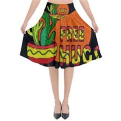 Cactus   Free Hugs Flared Midi Skirt by Valentinaart