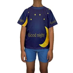 Star Moon Good Night Blue Sky Yellow Light Kids  Short Sleeve Swimwear by Mariart