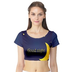 Star Moon Good Night Blue Sky Yellow Light Short Sleeve Crop Top (tight Fit) by Mariart