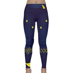 Star Moon Good Night Blue Sky Yellow Light Classic Yoga Leggings by Mariart