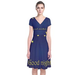 Star Moon Good Night Blue Sky Yellow Light Short Sleeve Front Wrap Dress by Mariart