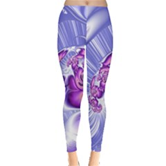 Space Stone Purple Silver Wave Chevron Leggings  by Mariart