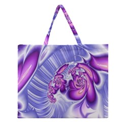 Space Stone Purple Silver Wave Chevron Zipper Large Tote Bag by Mariart