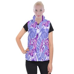 Space Stone Purple Silver Wave Chevron Women s Button Up Puffer Vest by Mariart