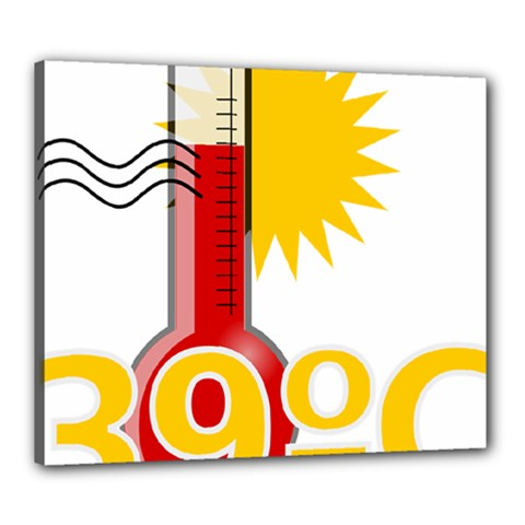 Thermometer Themperature Hot Sun Canvas 24  X 20  by Mariart