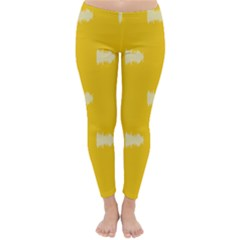 Waveform Disco Wahlin Retina White Yellow Classic Winter Leggings by Mariart